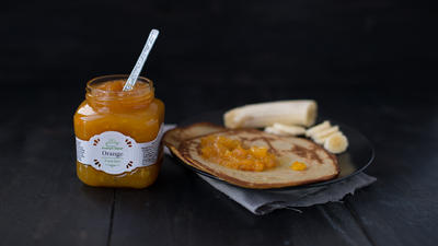 Banana and orange jam pancakes